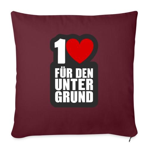 1 Herz für den Untergrund - Logo grau - Sofakissen mit Füllung 44 x 44 cm