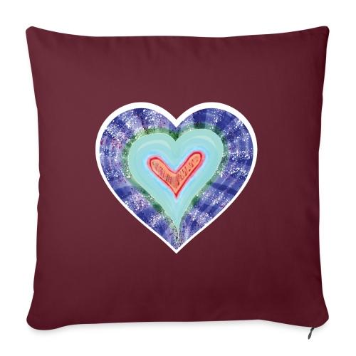 HeartSpread 18Little red heart in a green garden - Sofa pillow with filling 45cm x 45cm