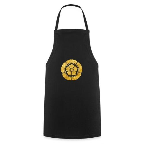 Oda Mon Japanese samurai clan faux gold on black - Cooking Apron