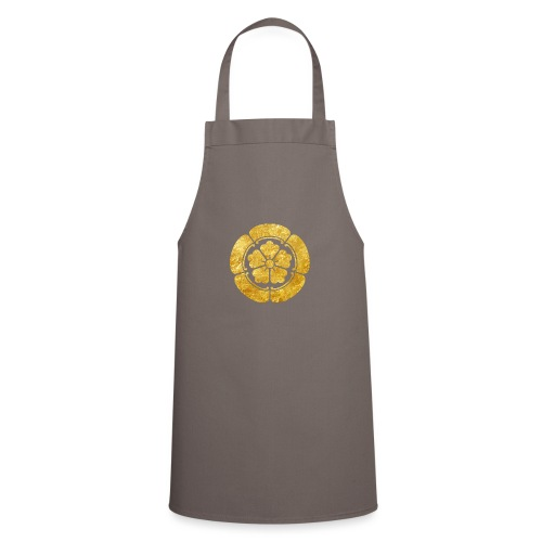 Oda Mon Japanese samurai clan faux gold on black - Cooking Apron