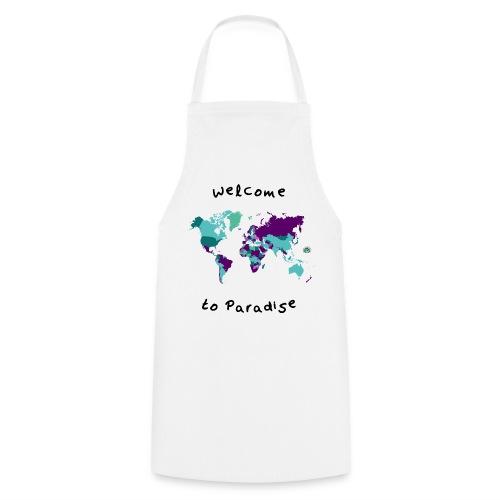 Weltkarten Design mit Welcome to Paradis - Kochschürze
