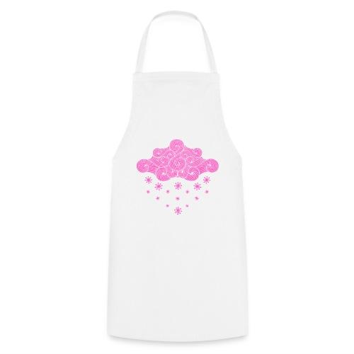 nuage rose et flocons vacances d'hiver - Tablier de cuisine