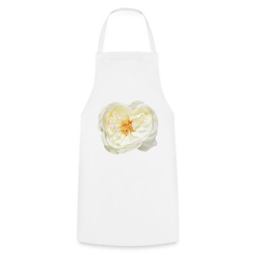 Weiße Rose (aus Stoff) - Kochschürze
