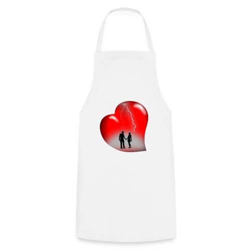 t shirt coeur rouge coup de foudre eclairs - Tablier de cuisine