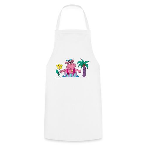 lustiges Nilpferd Sonnenblume Palme Hippo - Cooking Apron