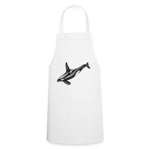 Orca ballena asesina Dibujo tinta blanco y negro - Delantal de cocina