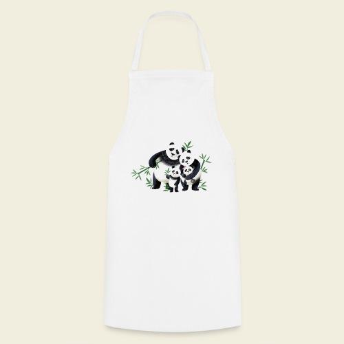 Pandafamilie zwei Kinder - Kochschürze