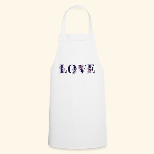 Typographie -LOVE - Fleurie - St Valentin - Tablier de cuisine