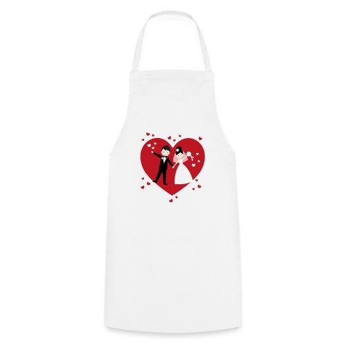 Hochzeitspaar mit vielen Herzen - Rot - Kochschürze