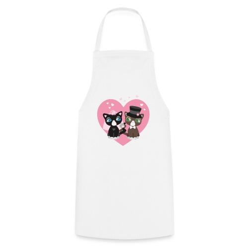 Katzen-Braut und Katzen-Bräutigam - Hochzeitspaar - Kochschürze