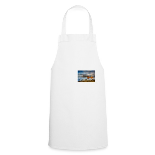 yellow boat on the sea over blue sky - Cooking Apron