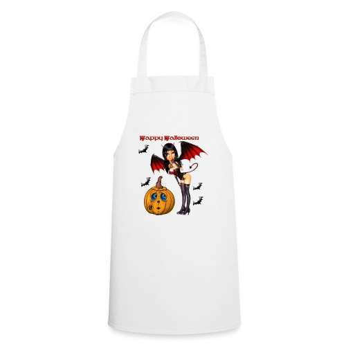 Happy Halloween Kürbis mit Fledermausgirl - Kochschürze