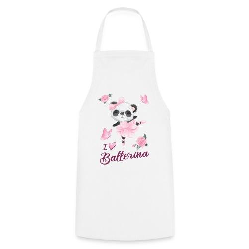 oso panda ballerina con mariposa y rosas - Delantal de cocina