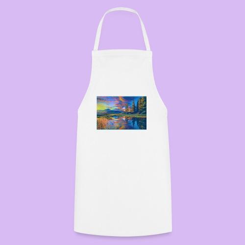 Paesaggio al tramonto con laghetto stilizzato - Grembiule da cucina