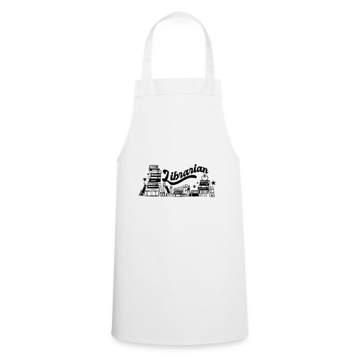 0321 Books Librarian stack of books funny - Cooking Apron