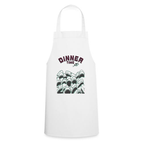 Dinner Time Funny Retro 90s Shark Shirt - Cooking Apron