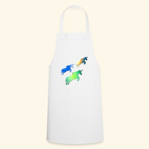 Three lucky mane fairy tale unicorns leaping - Cooking Apron