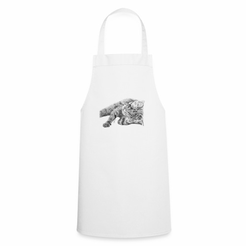 Small kitten in gray pencil - Cooking Apron