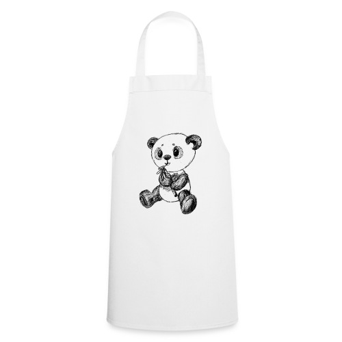 Panda bear black scribblesirii - Cooking Apron