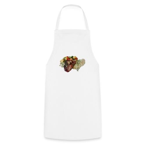 Steak mit Gemüse und Beilage - Kochschürze