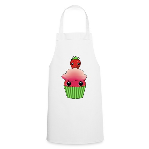 Kawaii cupcake with a strawberry with eyes - Cooking Apron