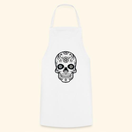 skull and flowers cool - Delantal de cocina