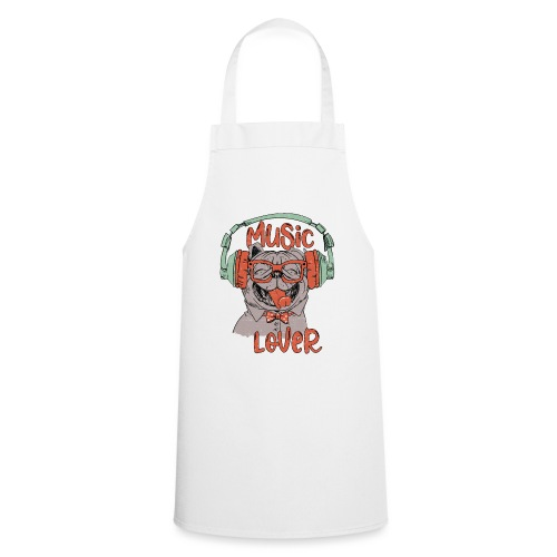 Music Lover - Happy Pug Dog Head Vintage style - Cooking Apron