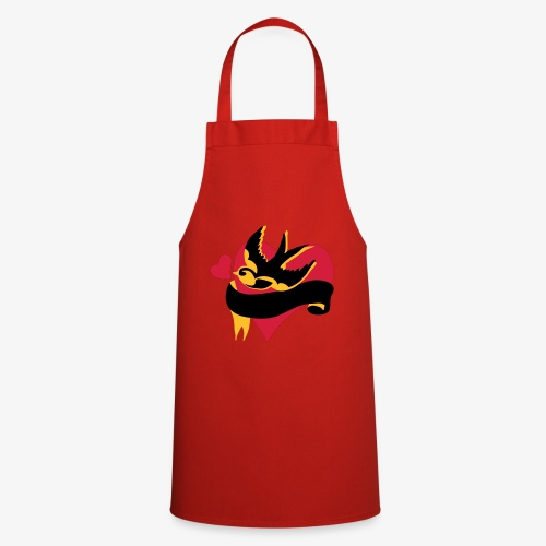 retro tattoo bird with heart - Cooking Apron