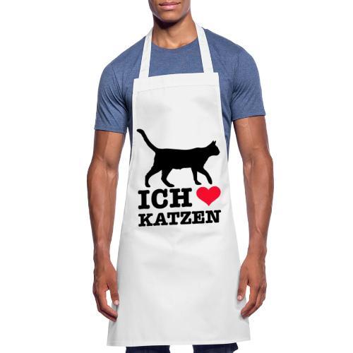 Ich liebe Katzen mit Katzen-Silhouette - Kochschürze