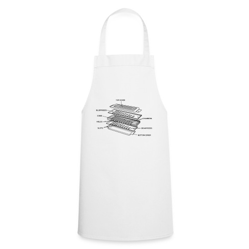 Exploded harmonica - black text - Cooking Apron