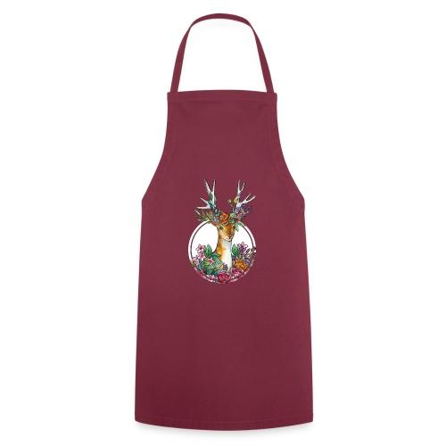 Oktoberfest Design mit Hirschgeweih und Blumen - Kochschürze