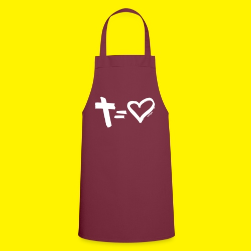 Cross = Heart WHITE // Cross = Love WHITE - Cooking Apron