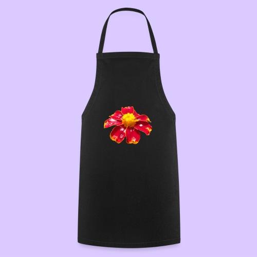 rote Ringelblume mit Regentropfen, Blume, Blüte - Kochschürze