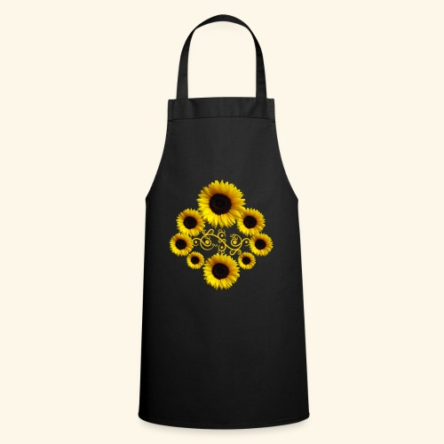 Sonnenblumen mit Ornament, Sonnenblume, Blumen - Kochschürze