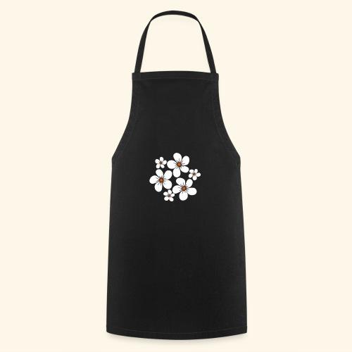 blühende weiße Blüten, Blumen, Blumenstrauß floral - Kochschürze