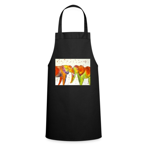 Colourful Elephants Kissing - Cooking Apron