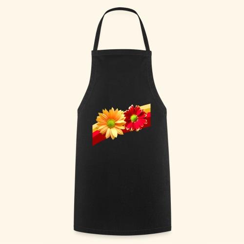 Blumen in den Farben rot und gelb, Blüten, floral - Kochschürze