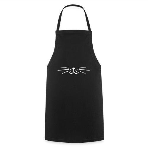 Moustache minimaliste chat (blanche) - Tablier de cuisine