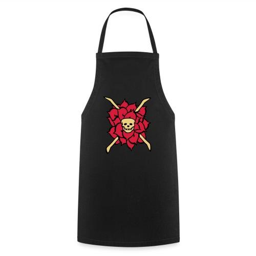 rose skull, tattoo style - Kochschürze