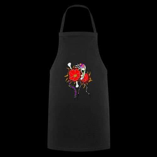 Le skull et les fleurs rouges - Tablier de cuisine