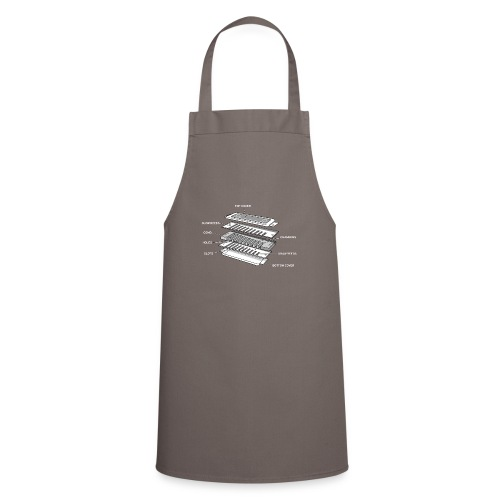 Exploded harmonica - white text - Cooking Apron