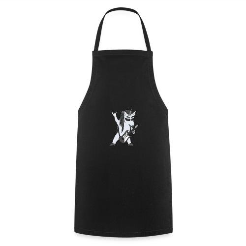 Licorne guitare metal N&B sans fond - Tablier de cuisine