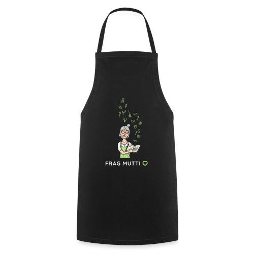 Logo weiß + Lotte + Icons | Frag Mutti - Kochschürze