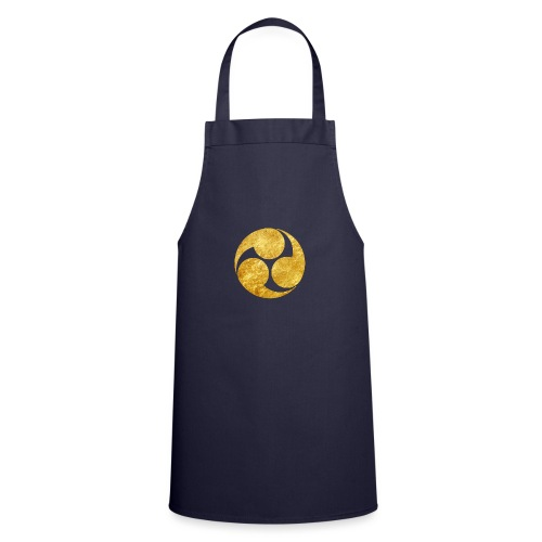 Kobayakawa Mon Japanese clan gold on black - Cooking Apron