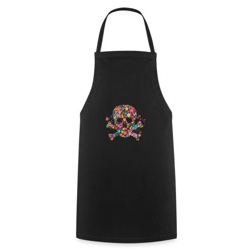 Tête de mort avec des fleurs - flower skull - Tablier de cuisine