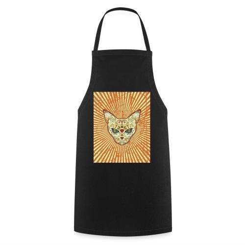 cat calavera grunge effect t shirt design - Grembiule da cucina