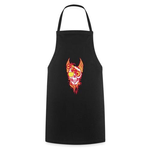 tete mort moto skull aile flamme fire - Tablier de cuisine