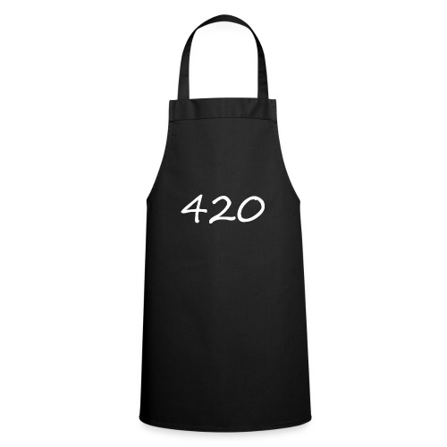 A hand drawn cannabis inspired 420 text logo - Cooking Apron