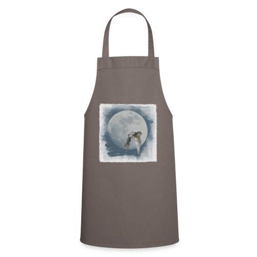 Flying owl full moon watercolor photo art - Cooking Apron