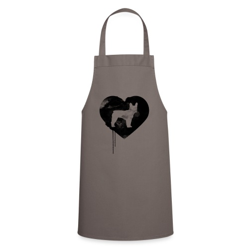 Französische Bulldogge Herz mit Silhouette - Kochschürze